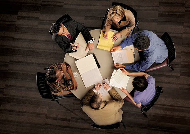 power meeting from above stock photo