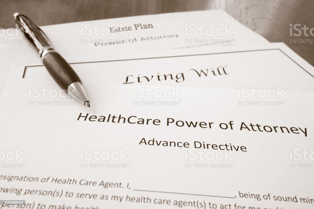 Power of Attorney, Estate Plan and Living Will stock photo