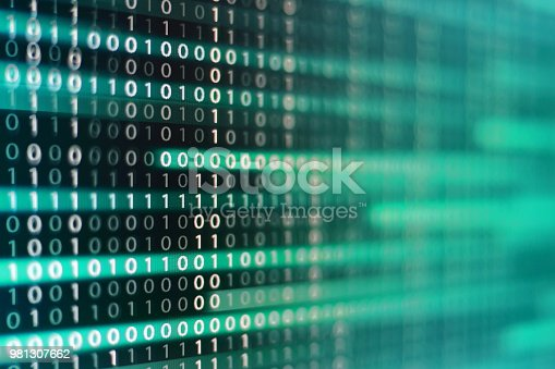 istock power of big data. binary code information bit on computer monitor screen display. Led light text number one and zero. blur defocus blue bokeh light. technology graphic design background concepts 981307662