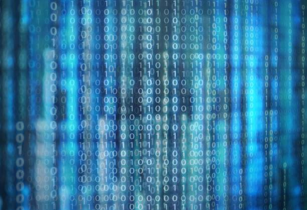 power of big data. binary code information bit on computer monitor screen display. green light text number one and zero. blur defocus blue bokeh light. technology graphic design background concepts stock photo