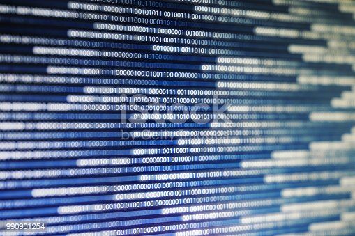 istock power of big data. binary code information bit on computer monitor screen display. green light text number one and zero. blur defocus blue bokeh light. technology graphic design background concepts 990901254