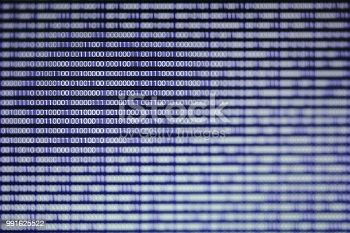 945925258 istock photo power of big data. binary code information bit on computer monitor screen display. Blue light text number one and zero. blur defocus blue bokeh light. technology graphic design background concepts 991625522