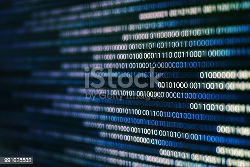 istock power of big data. binary code information bit on computer monitor screen display. Blue light text number one and zero. blur defocus blue bokeh light. technology graphic design background concepts 991625532