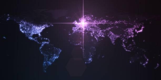 kraft von deutschland, energielender auf berlin. dunkle karte mit beleuchteten städten und menschlichen dichtegebieten. 3d-illustration - demographie deutschland stock-fotos und bilder