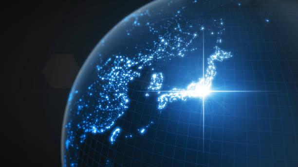 日本のパワー、東京のエネルギー・ビーム。照らされた都市および人口密度区域が付いている暗い地球儀。3d イラストレーション - 地球 日本 ストックフォトと画像