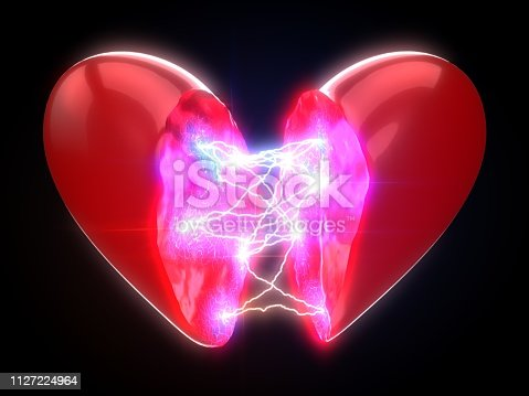 power of love. concept with lightning on heart. Suitable for love, emotion, technology and energy themes. 3d illustration