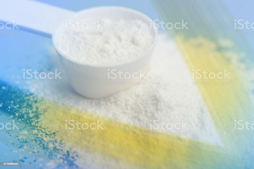Power of Meds. Sport supplement, drug, creatine, hmb, bcaa, amino acid or vitamin mesure with powder. Sport nutrition concept. stock photo