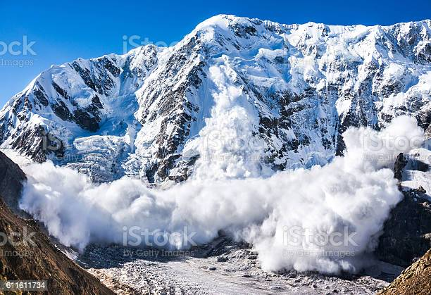 Power Of Nature Avalanche In The Caucasus Stock Photo - Download Image Now