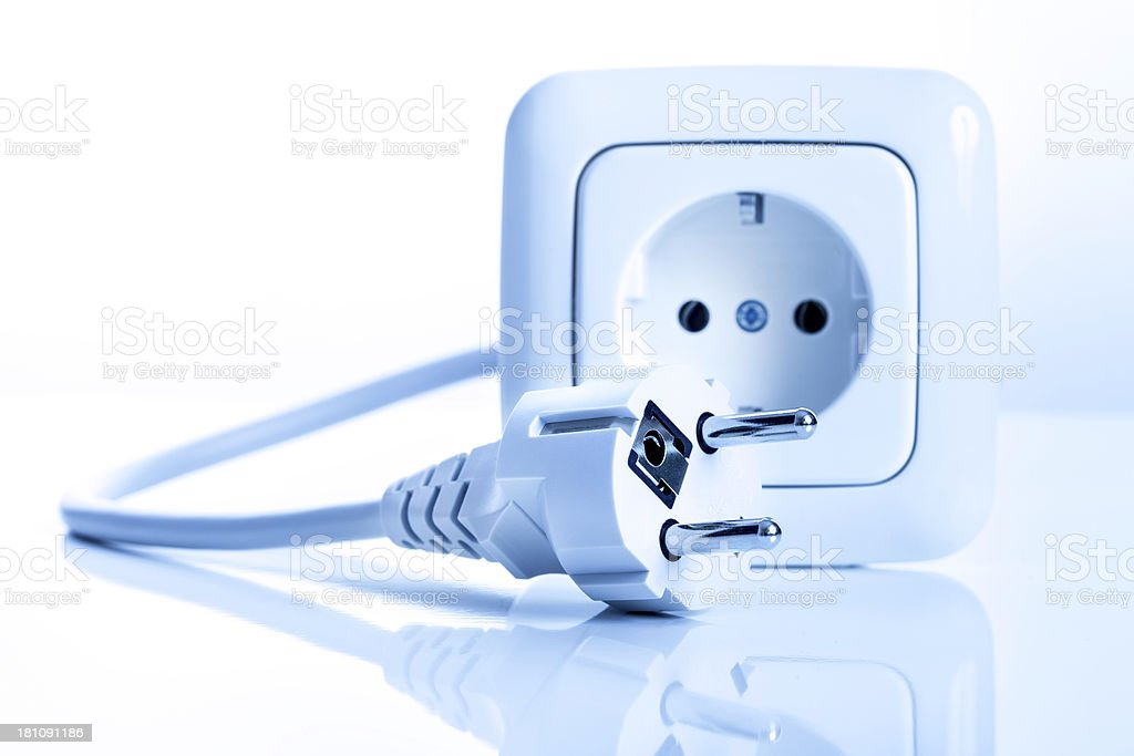 Power Outlet and plug on white royalty-free stock photo