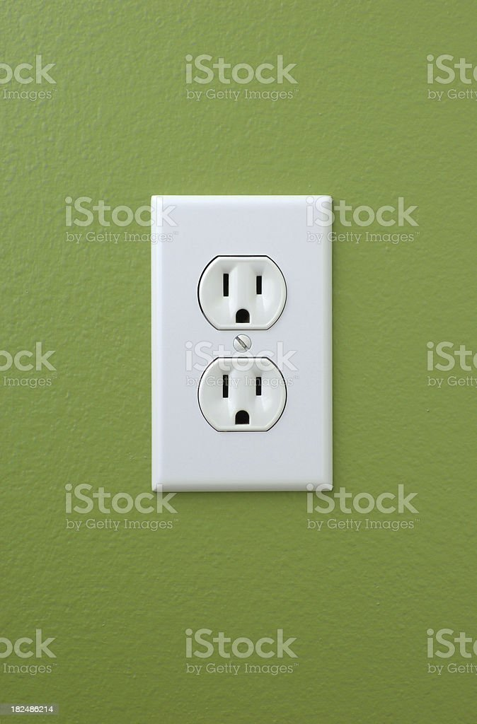 Power Outlet on Green Wall royalty-free stock photo