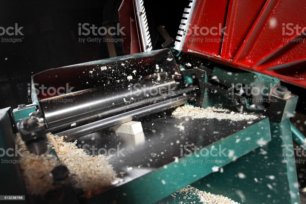 power planer on sawdust background stock photo