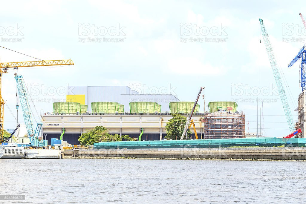 Power plant and construction. royalty-free stock photo