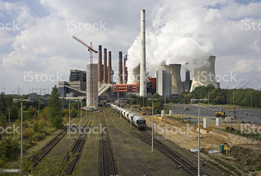 Power Plant And Railroad Tracks royalty-free stock photo