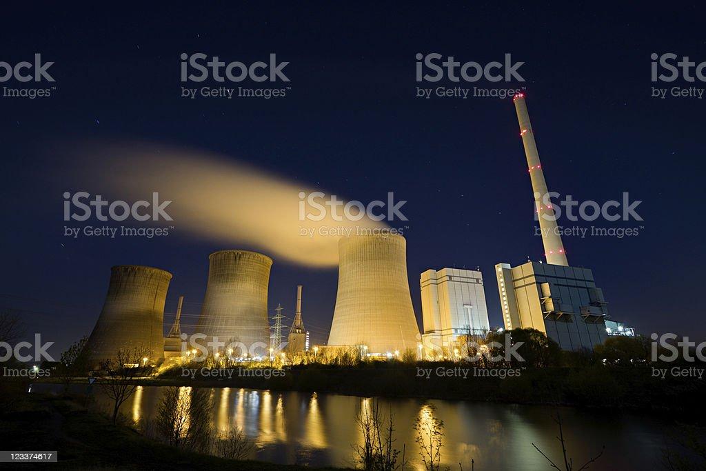 Power Plant At Night royalty-free stock photo