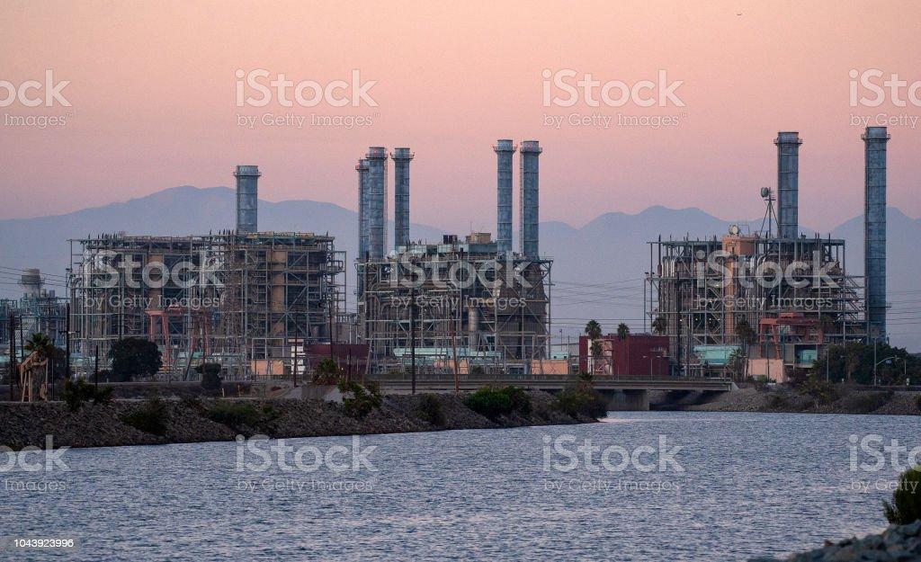 Power Plant At Twilight stock photo