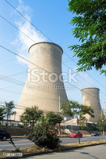 istock Power plant chimney 1136161723