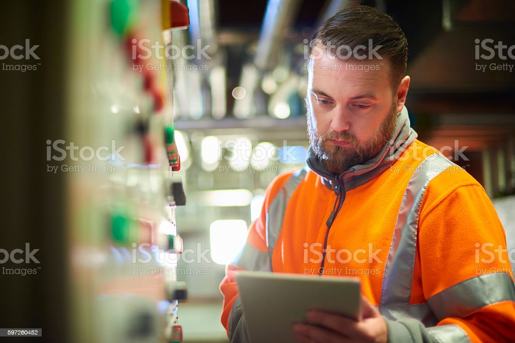 power plant engineer stock photo