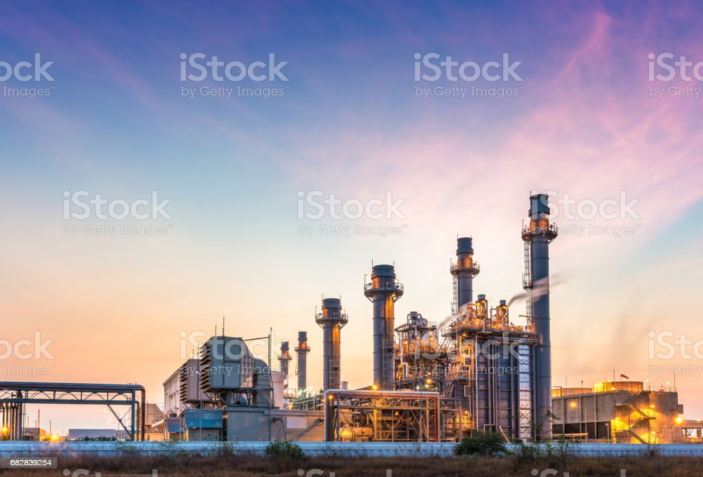 Power plant for Industrial Estate at twilight stock photo