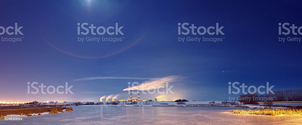 Power plant in the night. stock photo