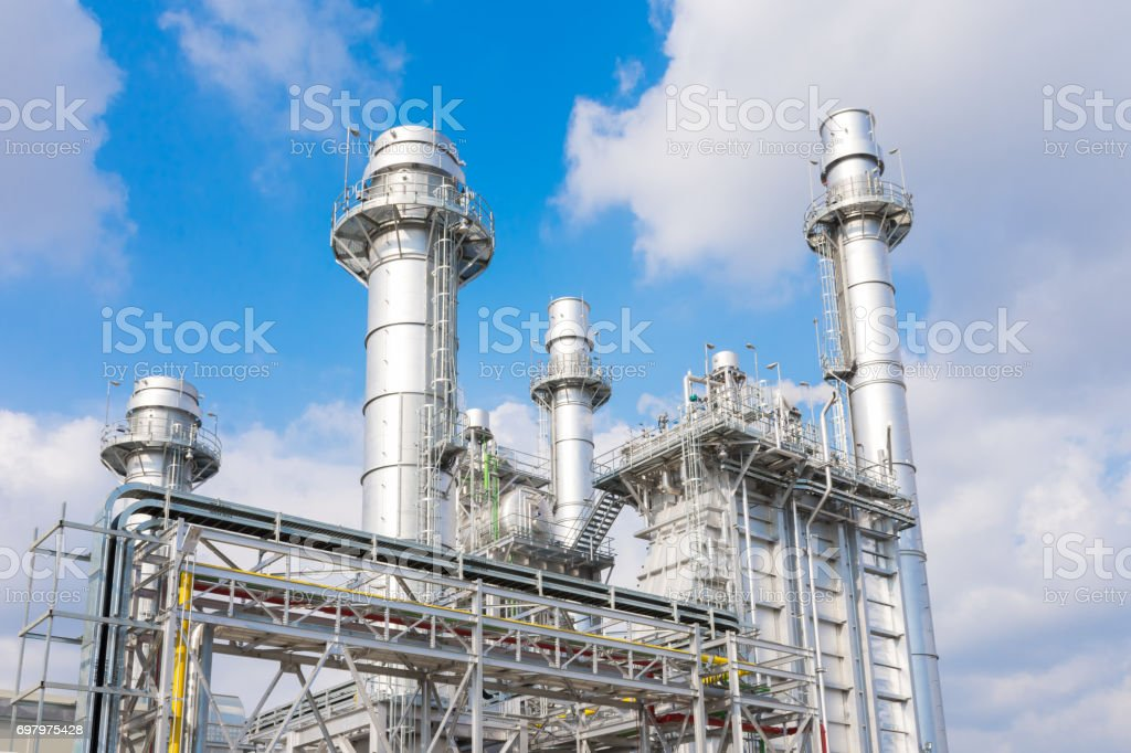 power plant in the petrochemical plant at blue sky stock photo