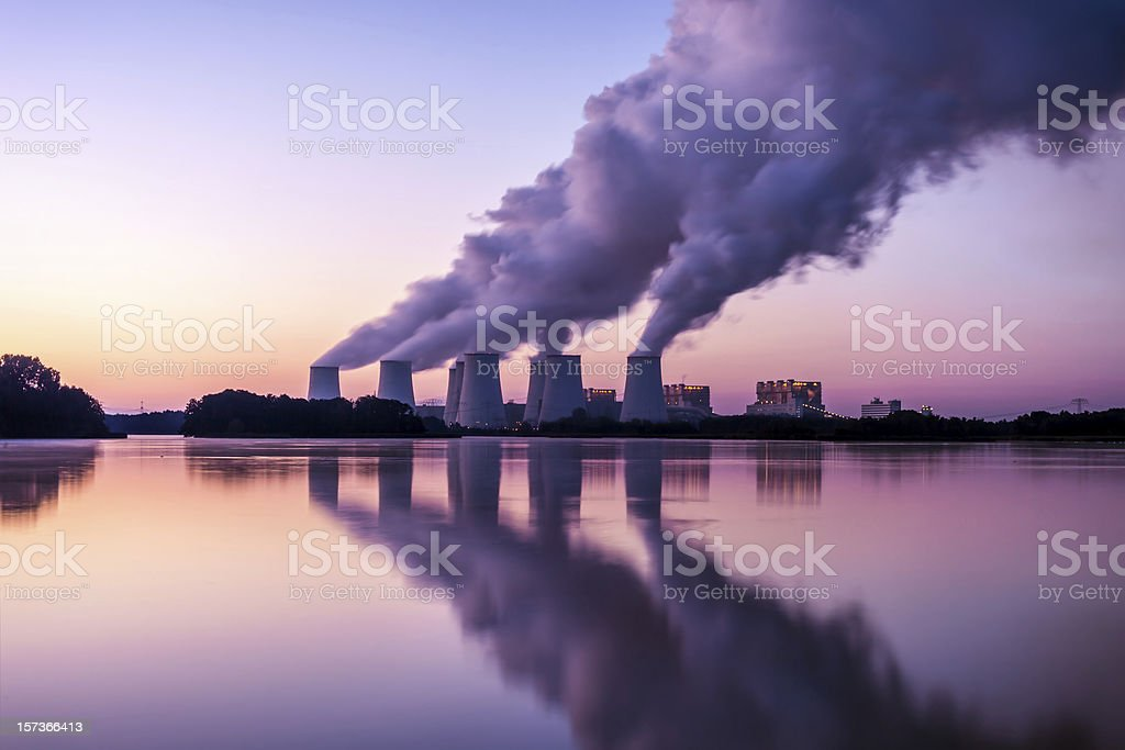 Power Plant in the sunrise stock photo