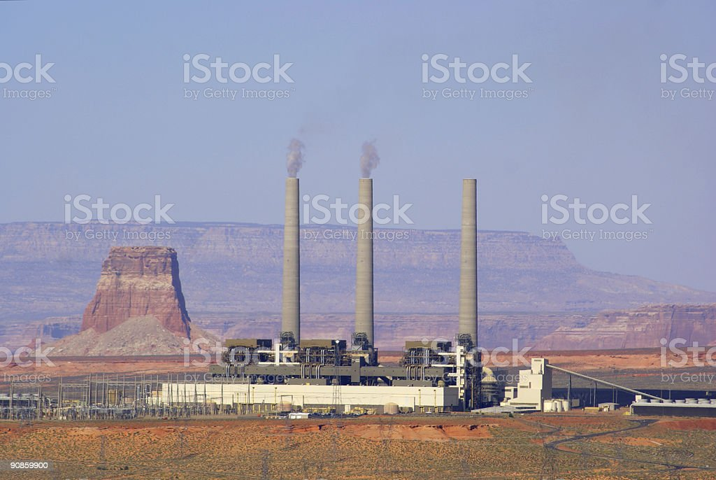 power plant landscape desert royalty-free stock photo