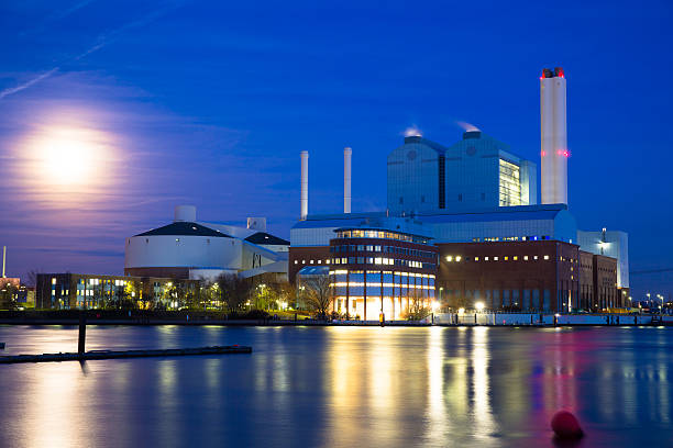 power plant near the elbe - cogeneration plant stock photos and pictures