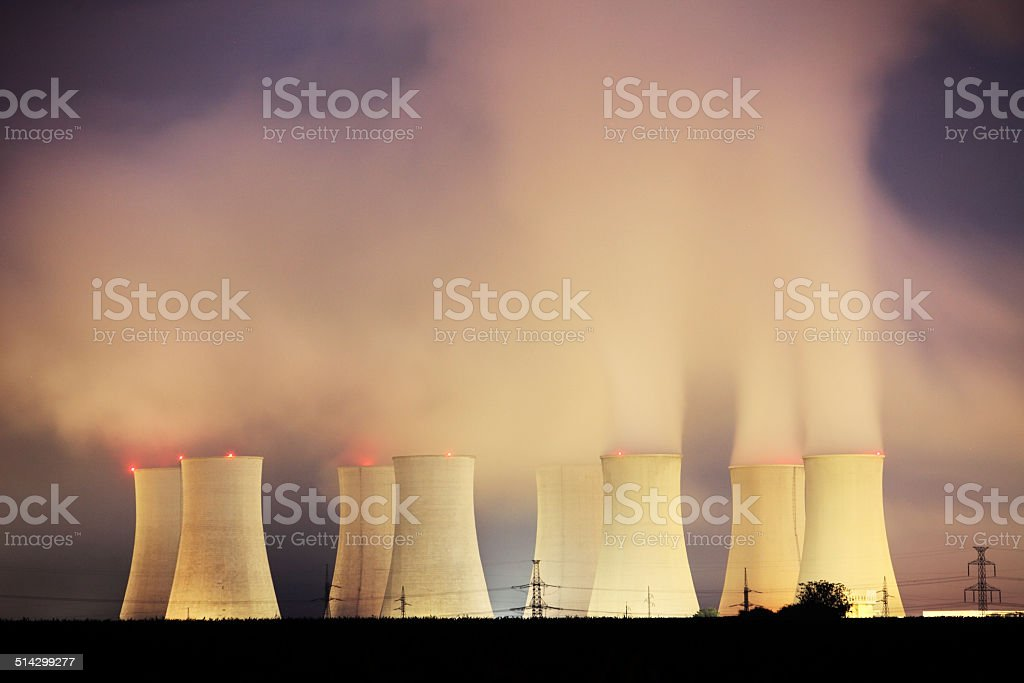 Power plant Nuclear by night stock photo