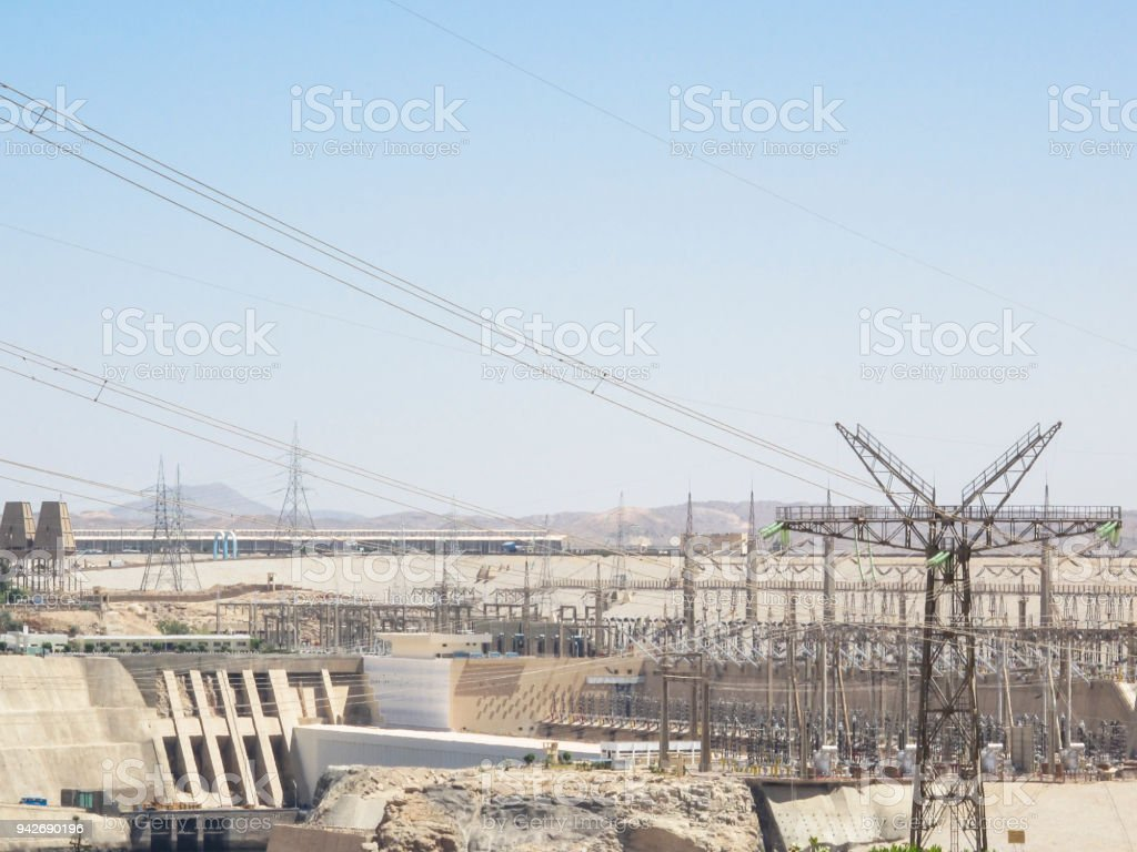Power Plant of Aswan High Dam in Aswan, Egypt stock photo