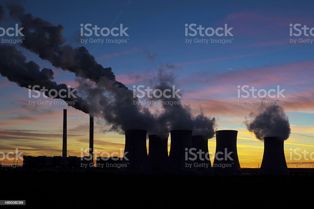 Power plant on evening sky stock photo