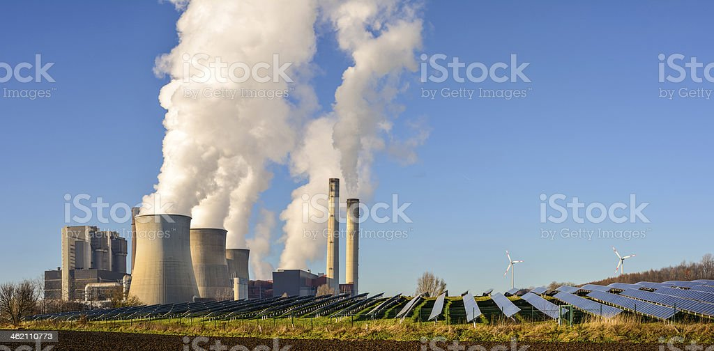Power plant, photovoltaic, wind energy stock photo