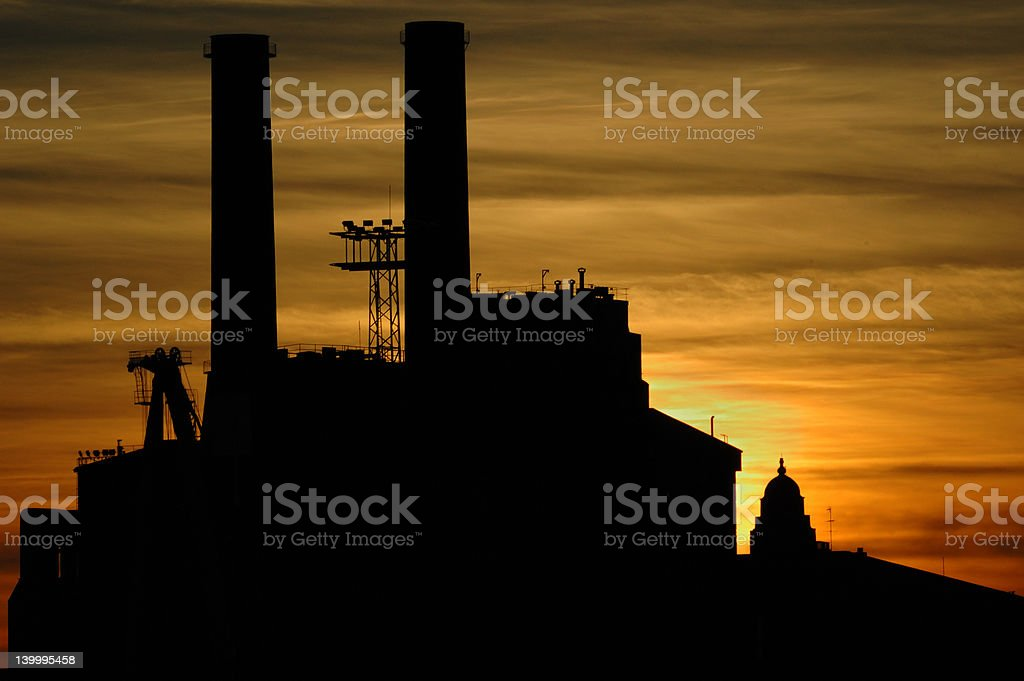 Power plant silhouette. stock photo