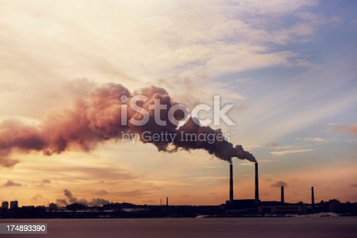 Silhouette of the Power plant in Kiev.