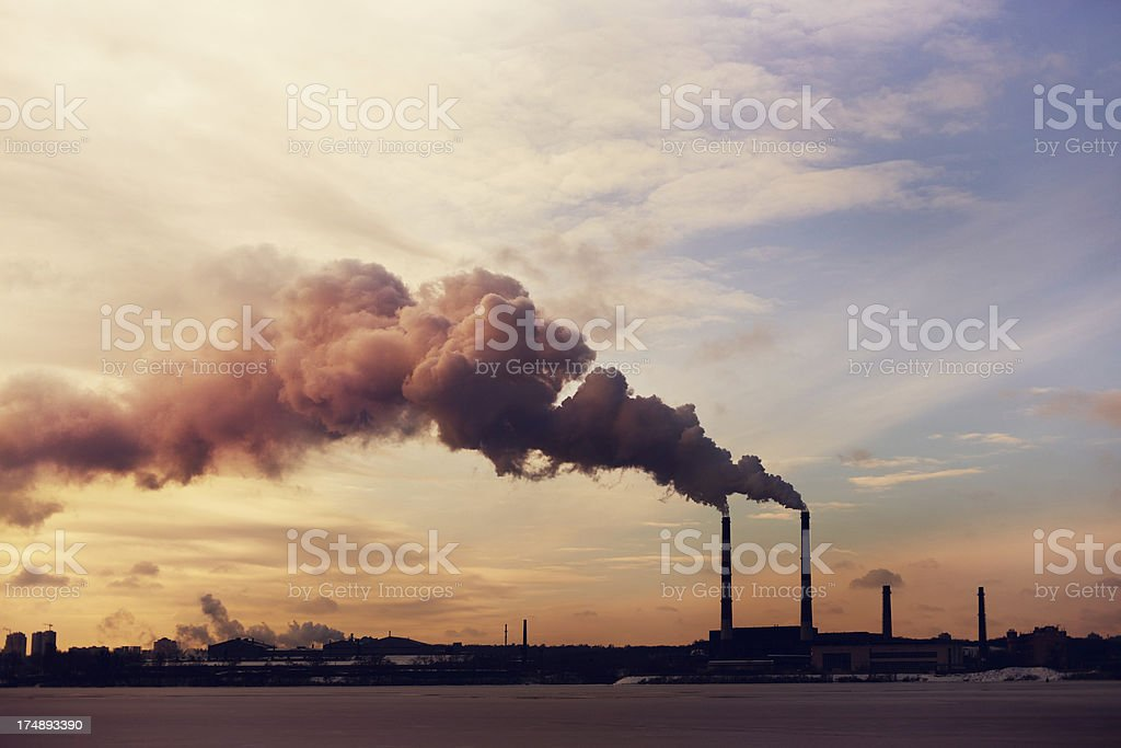 Power plant silhouette stock photo