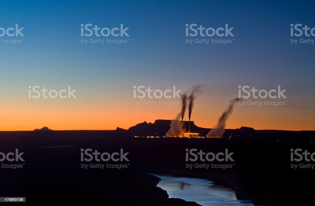 Power Plant smoggy, sunset stock photo