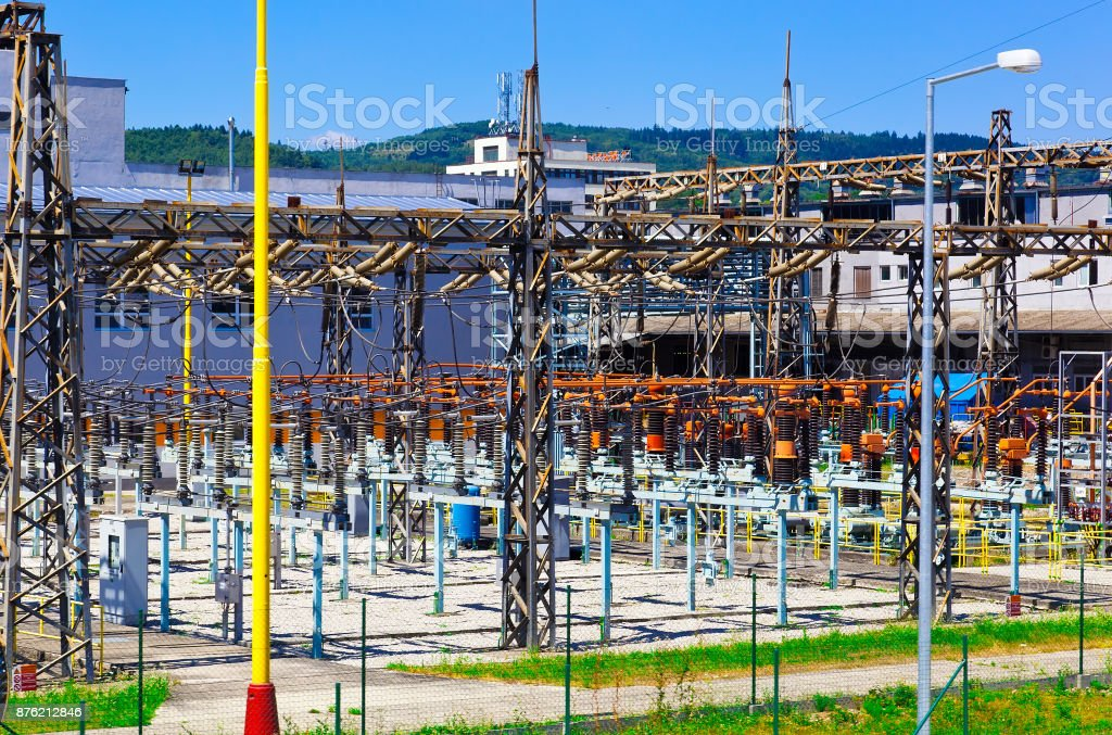 Power plant - transformation station. stock photo