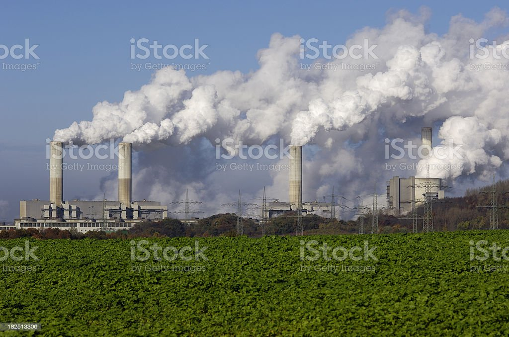 Power plant with pollution stock photo