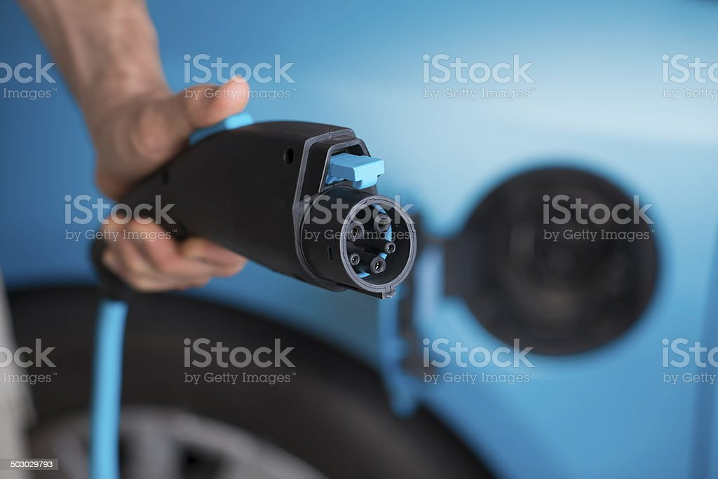 Power plug of electric car. stock photo