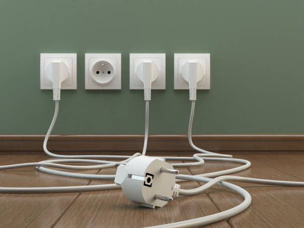 Power plugs, 3D illustration cables and plugs electrical outlet stock pictures, royalty-free photos & images