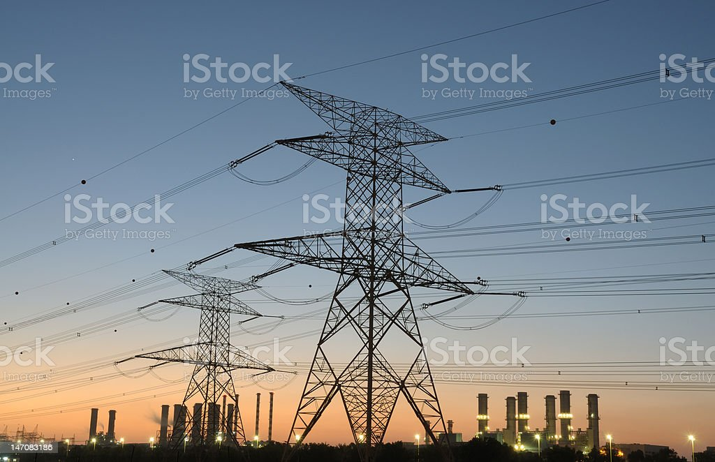 Power Pole and Electricity Station royalty-free stock photo