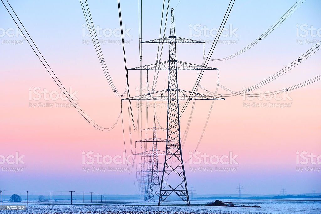 Power pole utility pole with great sky color stock photo
