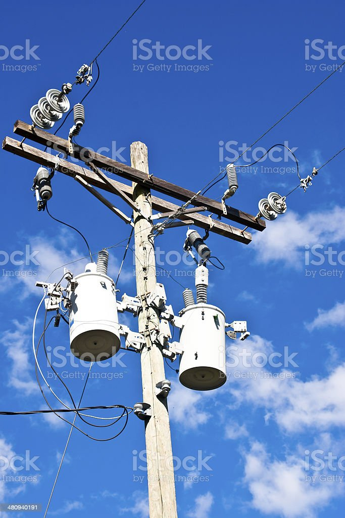 Power pole with transformers royalty-free stock photo