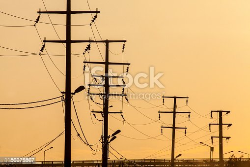 yellow sky and electrical wires