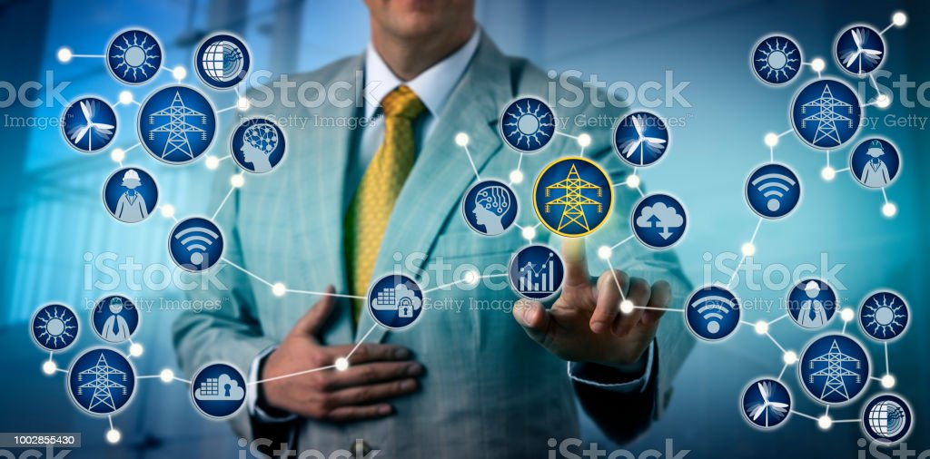 Power Producer Activating Electrical Microgrid stock photo