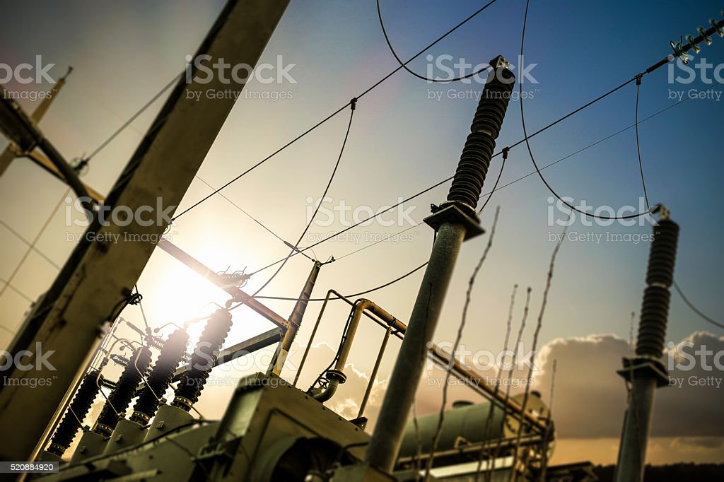 Power station and electricity pylon royalty-free stock photo