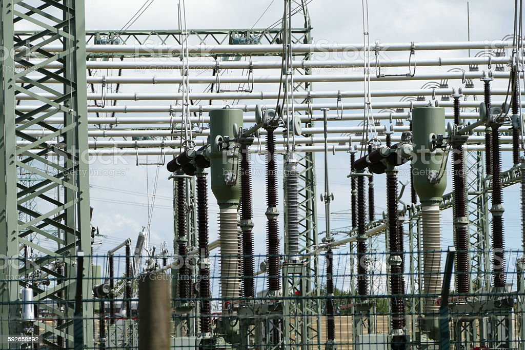 Power station and electricity pylon stock photo