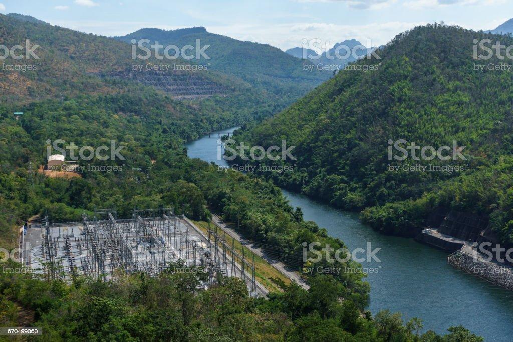 Power station and river view at Srinakarin Dam stock photo