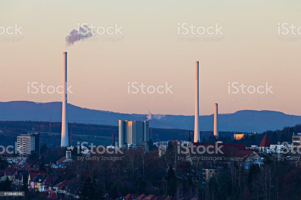 power station at dusk stock photo