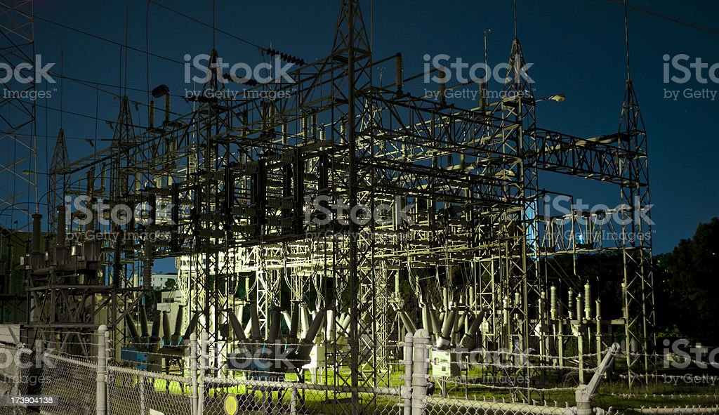 Power Station at Night - Wide royalty-free stock photo