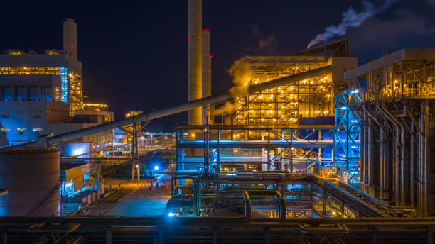 Power station, Combined heat power plant at night, Large combined cycle power plant. stock photo